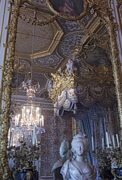 Queen Marie-Antoinette's Bedchamber ceiling and walls at Versailles - France