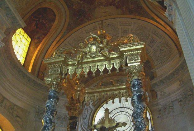 Statue above altar Inside Hotel Des Invalides - Paris - France