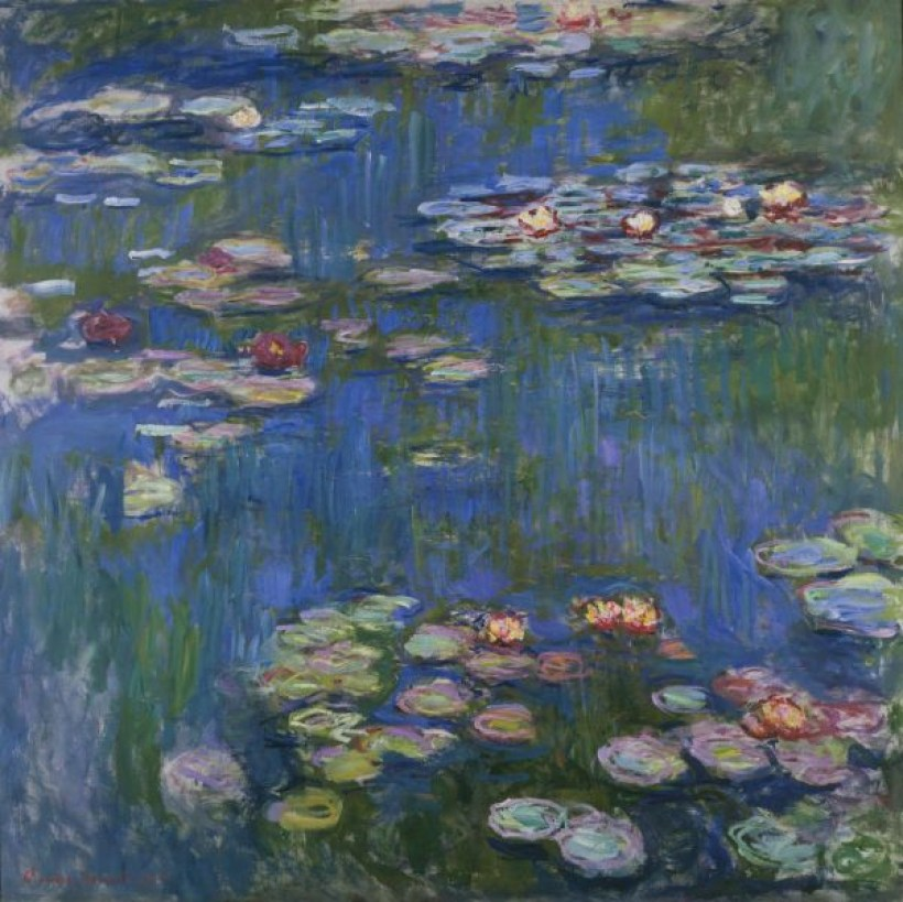 "An image of Claude Monet's work of art titled ""Water Lilies"" ."