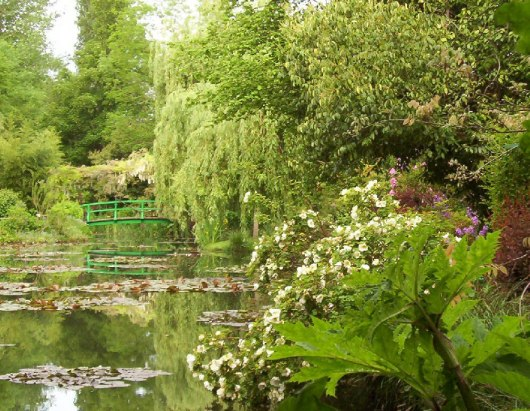 Claude Monet Water Lily Pond in Giverny - shoreline of pond - France