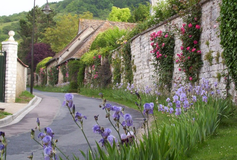 An image of flowers growing along a street in Giverny, France.
