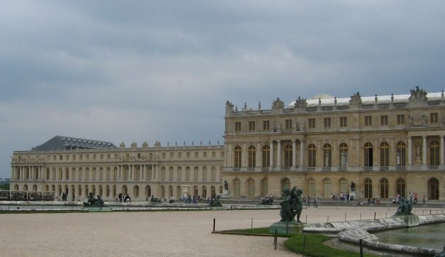 An image of the Water Parterre and north wing of the Palace of Versailles in France.