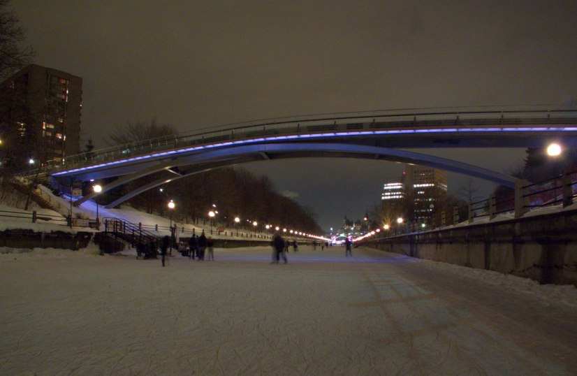Winterlude - skating at night on the frozen Rideau Canal