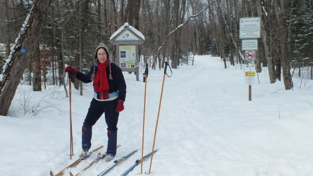 Jean prepares to ski on the Blue Spruce Inn ski trails at Oxtongue Lake - Ontario