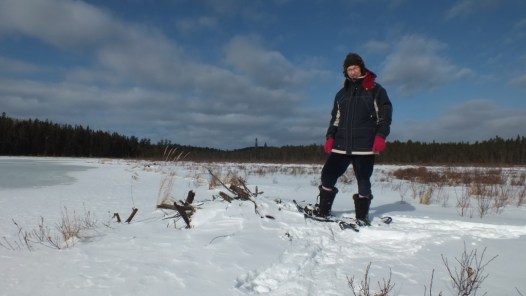 Jean on snowshoes in Spruce Bog - Algonquin Park