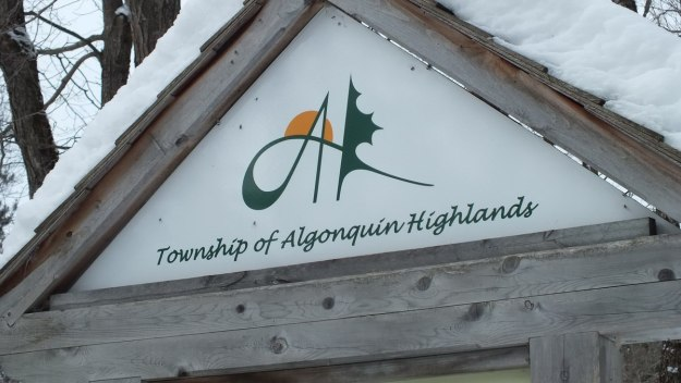 The Township of Algonquin Highlands trail sign at Oxtongue Lake - Ontario