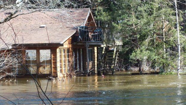Big East River flood zone - flooded cedar home - Huntsville, Ontario - April 21 2013