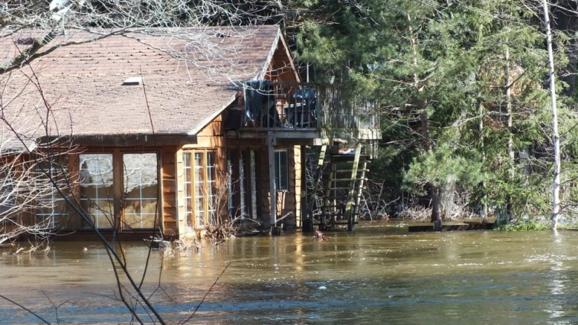 Big East River flood zone - flooded cedar home - Huntsville, Ontario - April 21 2013