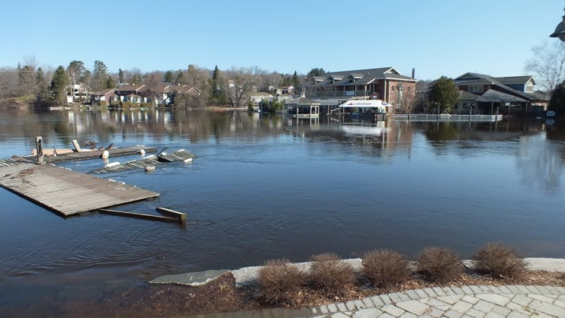 Huntsville flooding - flooded riverside buildings - Ontario - April 21 2013