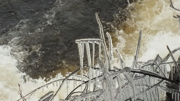Marsh's Falls flooding - icicles above raging water - Oxtongue river - April 20 2013