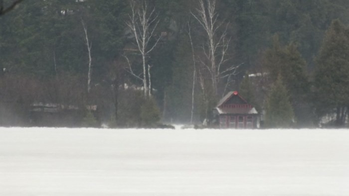 Oxtongue Lake flooding - high waters on distant shore - April 20 2013