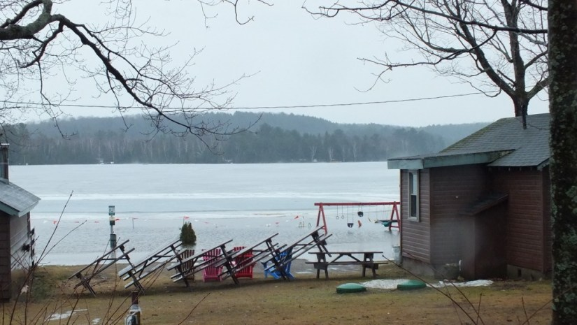 Oxtongue Lake flooding -view across lake to east shoreline - April 20 2013