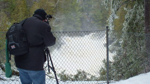 Ragged Falls - Bob films the falls - Oxtongue River - Ontario - April 20 2013