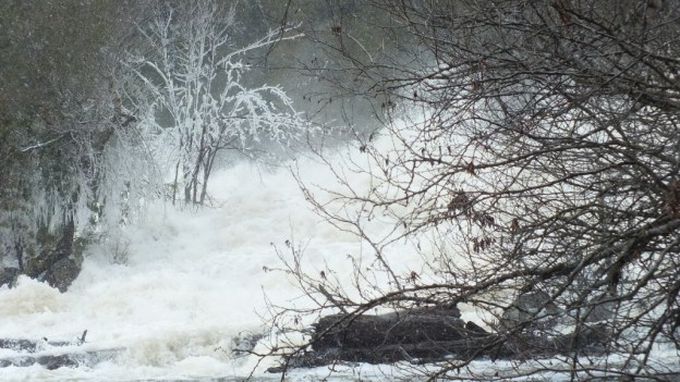 Ragged Falls - ice and white foam at bottom - Oxtongue River - Ontario - April 20 2013