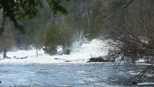 Ragged Falls - raging waters at bottom of falls - Oxtongue River - Ontario - April 20 2013