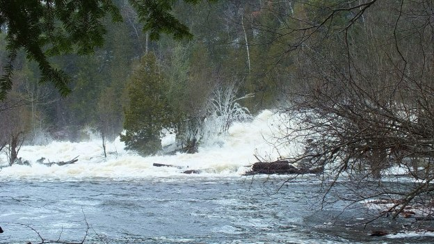 Ragged Falls - raging waters at bottom of falls - Oxtongue River - Ontario - April 20 2013