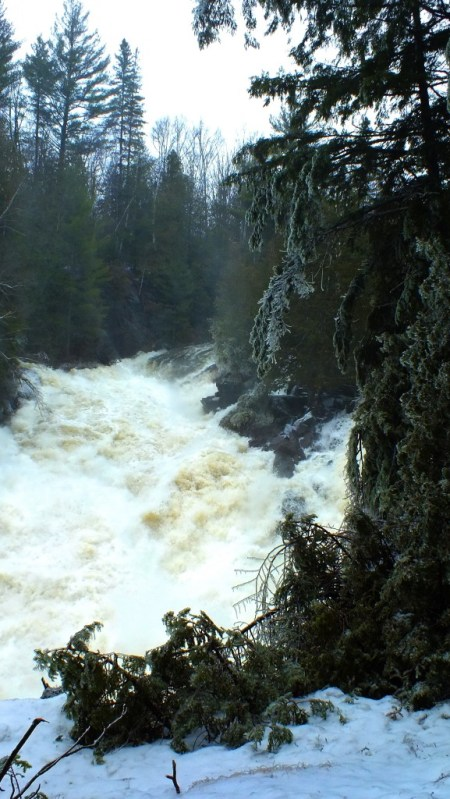 Ragged Falls - spring flooding of falls 1 - Oxtongue River - Ontario - April 20 2013