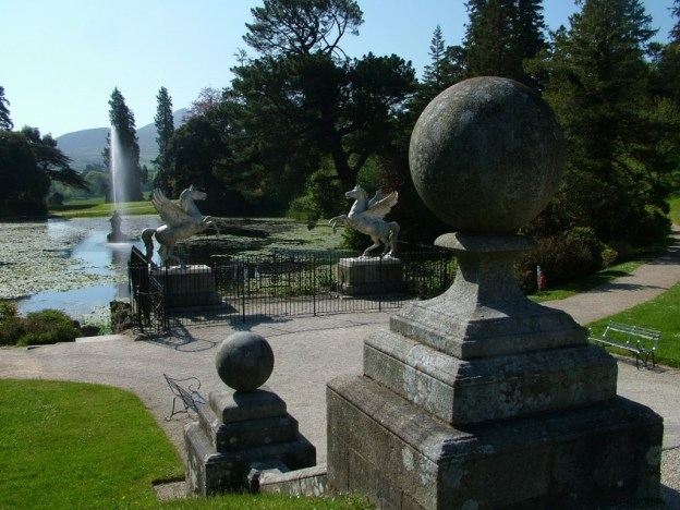 Tiriton Lake - view of Winged Horses - Powerscourt - Ireland