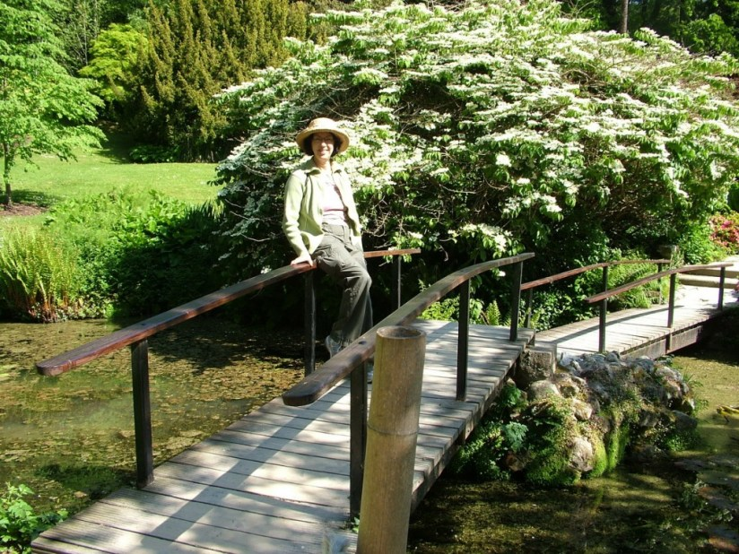 jean sits on bridge in japanese gardens - powerscourt - ireland