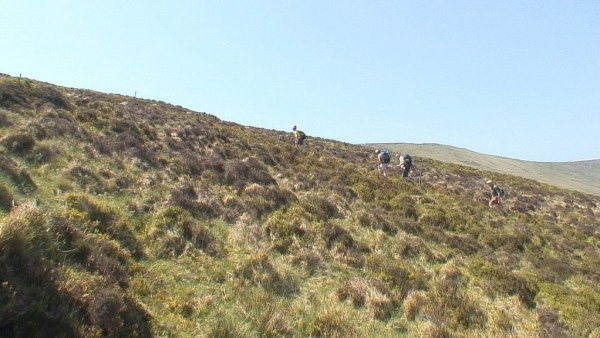 Climbing up Lugduff Mountain - wicklow mountains national park - ireland