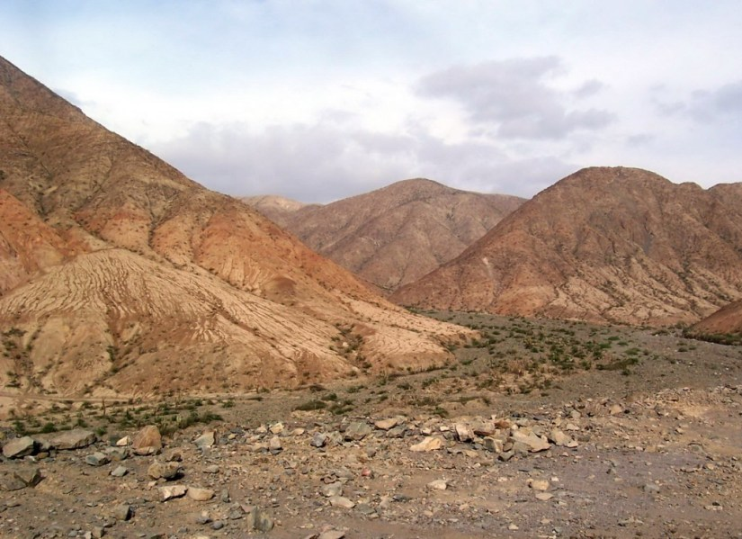 Mountains along highway 26 near Nazca in Peru, South America.
