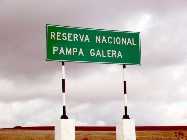 Road side sign for Reserva Nacional Pampa Galera, Peru