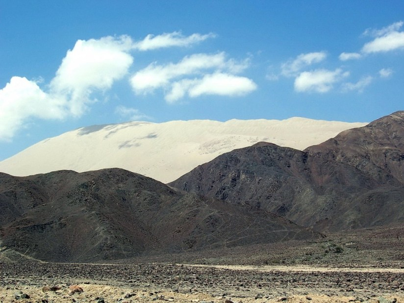 View of Cerro Blanco from Highway 26, east of Nazca Peru