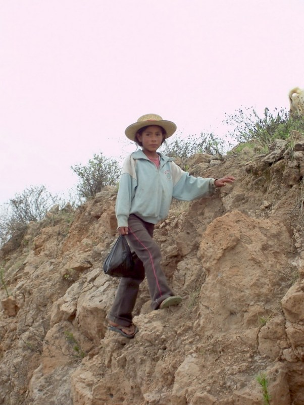 Young girl on hillside, Peru