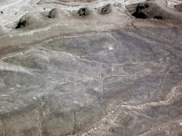 The Humming Bird line drawing at the Nazca Lines of Peru, in South America