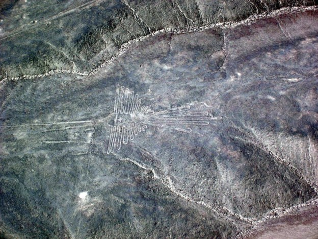 The Humming Bird line drawing at the Nazca Lines of Peru, South America
