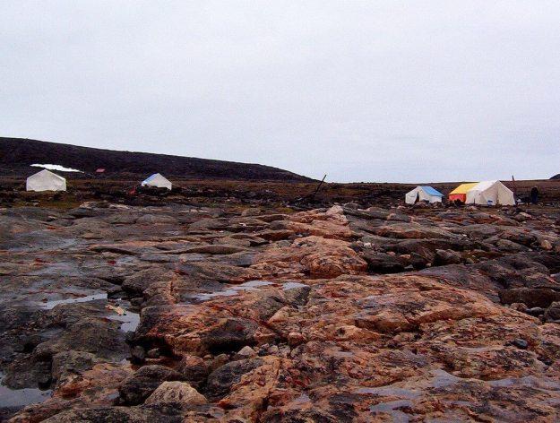 Basecamp on Kekerten Island in the Cumberland Sound, off Baffin Island, Nunavut, Canada