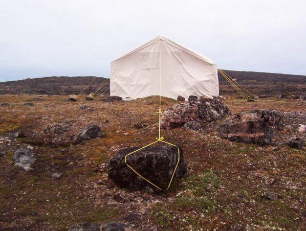 holding tents up with stones - kekerten island - nunavut