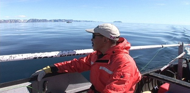 Inuit helmsman searches for Bowhead whales off Kekerten Island in the Cumberland Sound, off Baffin Island, Nunavut, Canada