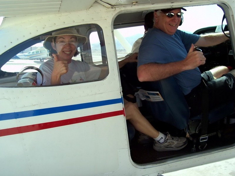 jean and bob prepare for take off - nazca lines - peru - south america