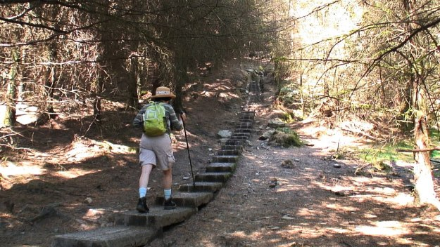 jean heads up the 600 steps to The Spinc hiking trail - wicklow mountains national park - ireland