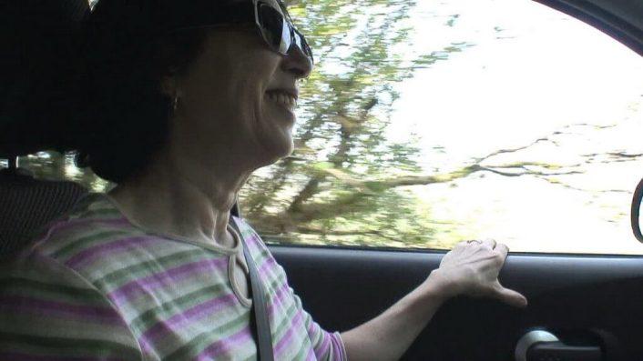 jean smiles as we drive - enniskerry - wicklow - ireland