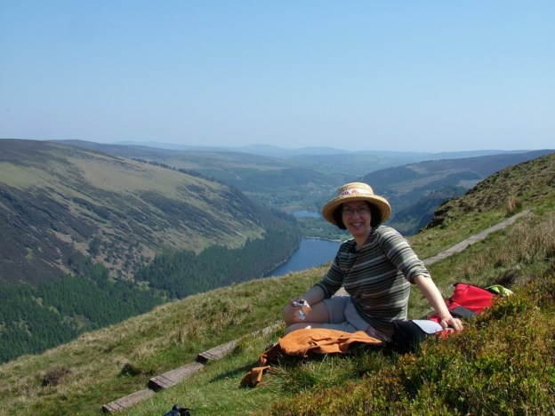 jean takes a break along the Spinc hiking trail - wicklow mountains national park - ireland
