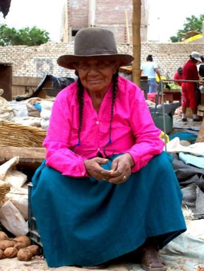 Woman in the street market in Nazca, Peru