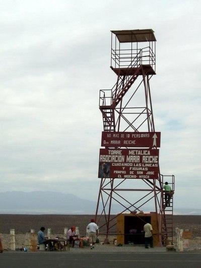 Nazca Lines Mirador Tower in the desert in Peru, South America.
