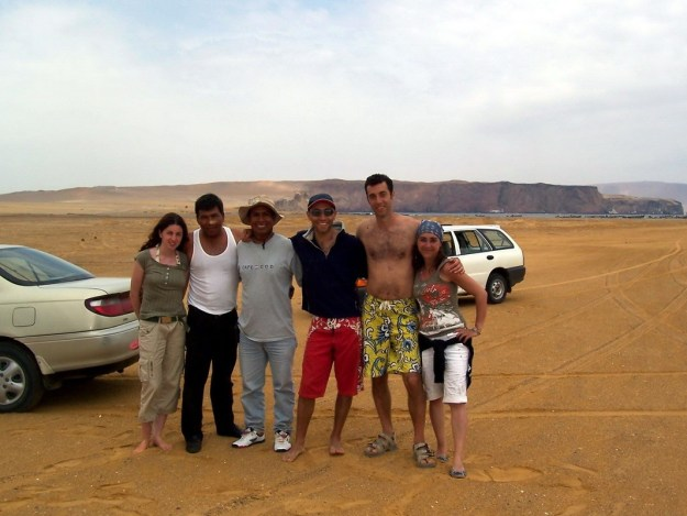 people who helped us dig car out of sand at Paracas National Reserve, Ica, Peru.