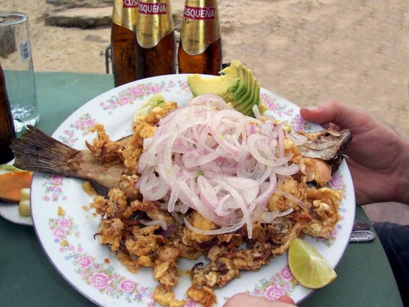 Sea food at restaurant in Playa Lagunillas in Paracas National Reserve, Ica, Peru. at Paracas National Reserve, Ica, Peru.