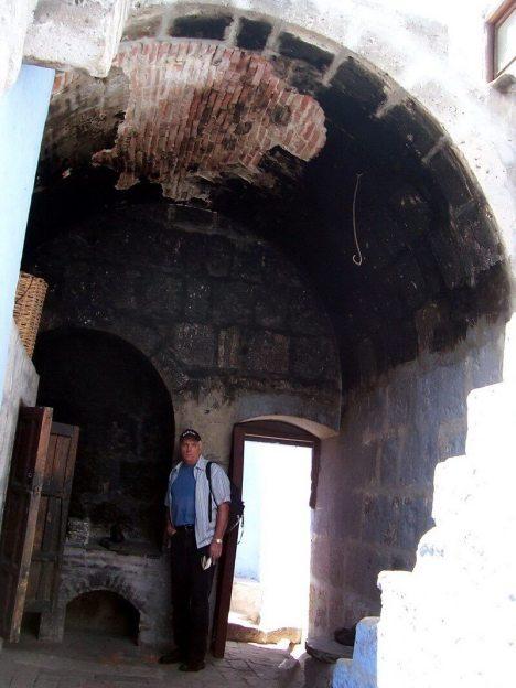 Bob checks out baking oven, Santa Catalina Convent, Arequipa, Peru