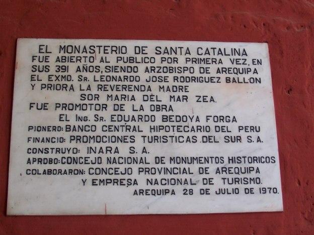 El Monasterio De Santa Catalina wall sign, Arequipa, Peru