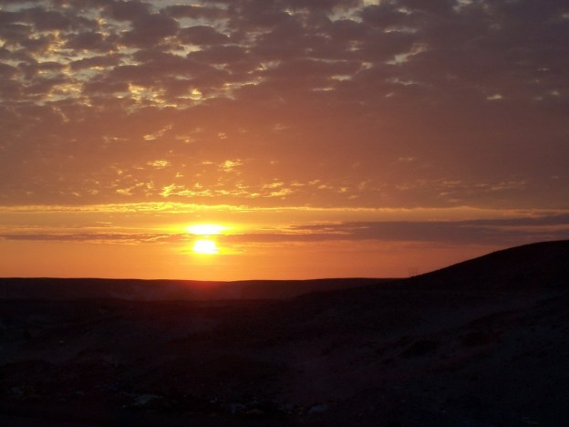 sunset in the desert near arequipa - peru