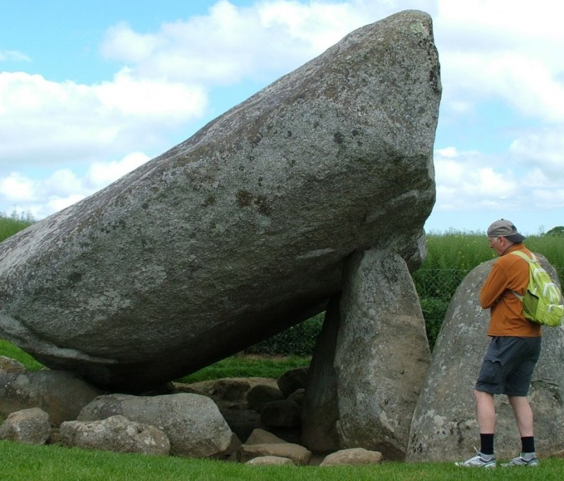 An image of Bob looking at the Brownshill Portal Tomb in County Carlow, Ireland. Photography by Frame To Frame - Bob and Jean.