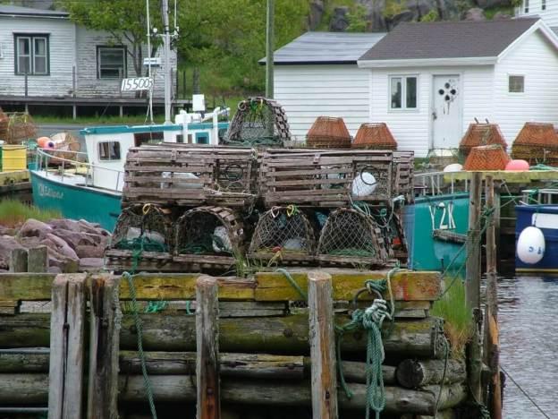 lobster traps sitting on wharf in newfoundland village in canada