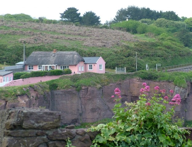 an image of a pink thatched cottage in dunmore east in county waterford - ireland