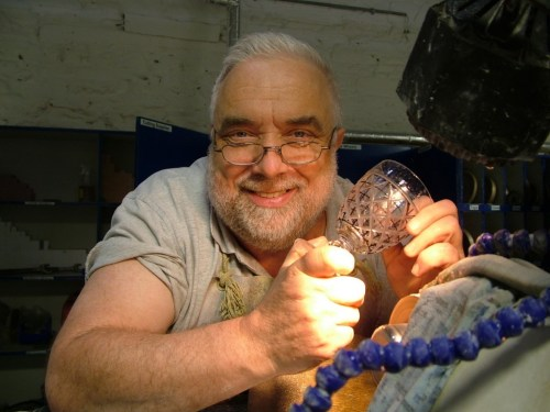 the joy of cutting a crystal goblet - waterford crystal plant - ireland