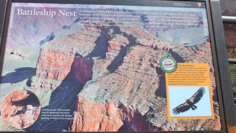 Battleship Condor Nest - park sign - Grand Canyon