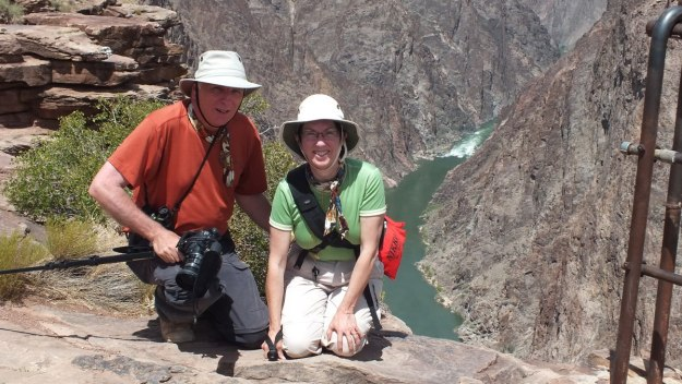Jean & Bob on edge of Grand Canyon - Arizona